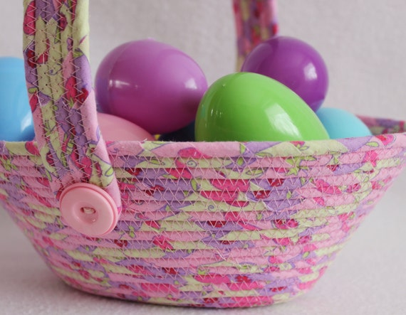 Pink and Purple Coiled  Easter Basket with Handles by PrairieThreads