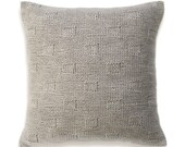 RESERVED for David Alva Textured Wool Hand Knit Pillow Cover In Flax Beige 16 inch Decorative Cushion Natural Linen