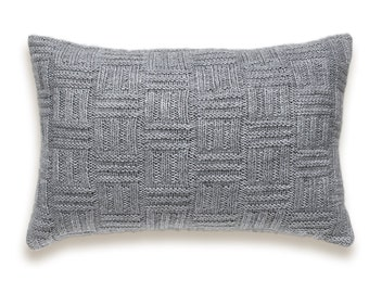 Basket Weave Knit Pillow Cover In Grey 12 x 18 inch Textured Wool Cotton