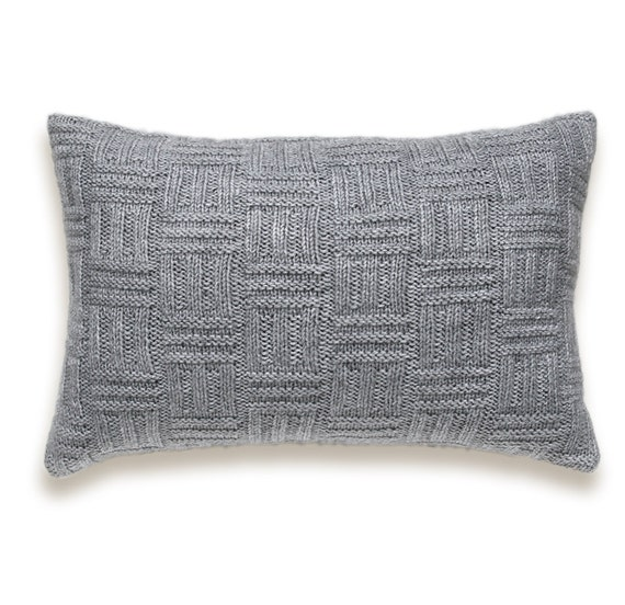 How To Make A Basket Weave Pillow : Basket weave knit pillow cover in grey inch textured