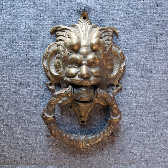 Door knocker solid brass victorian green man gargoyle by nickhaus - Greenman door knocker ...