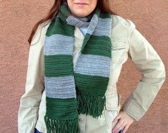 Green and Grey Striped Scarf  for Men or Women, Crochet, Crocheted Scarves from Hoooked Handmade in Harry Potter Slytherin Colors