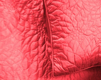 "candy pink queen size quilted bedspread with 2 pillows in size 102""x116"" and 20""X30"""