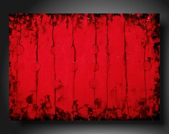 Large original wall art Sale home decor oil paintings industrial gift abstract painting by jmjartstudio 18 x 24 red textured braille artwork