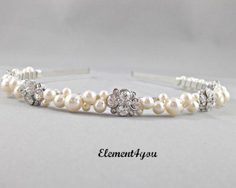 Bridal Headband, Pearl Tiara, Vintage rhinestone hair piece, Swarovski ivory or white pearls, Wedding Head band, Pink headband, Blue pearls.