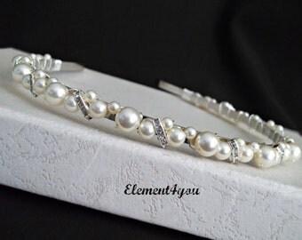 Bridal Headband, Pearl headband, Bridal headpiece, Wedding hair tiara, Rhinestone ivory white pearls hair  piece, Swarovski pearls