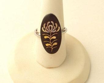 Ring, Black Glass, Gold & Silver Design, Adjustable, Silver Tone, VIntage