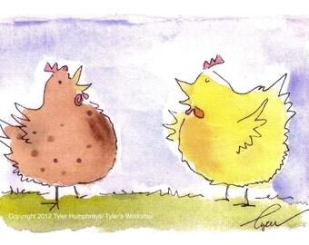 Chicken Card - Funny Chicken Greeting Card - Funny Chicken Illustration Print - Chicken Cartoon - 'Chicken Talk Bok Bok Bok'