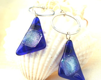 Dichroic Glass Earring Dangle and Fine Silver Circle Earrings Blue Triangles
