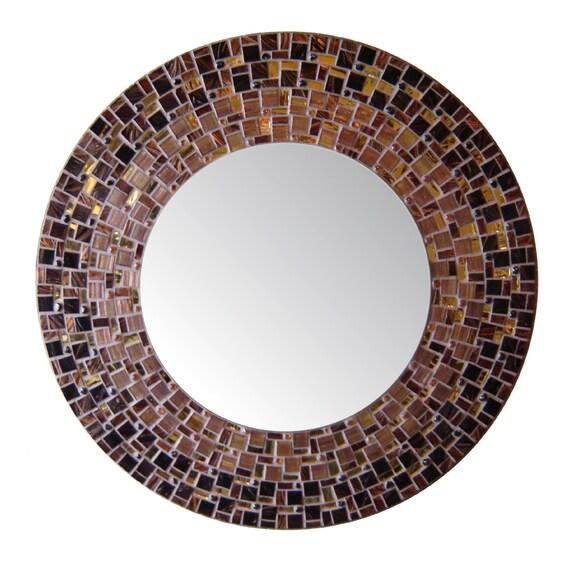 Large Round Mosaic Mirror - Brown, Mahogany, Gold