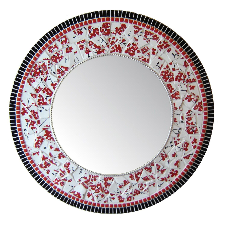 Mosaic mirror large round white black red china for Large white round mirror