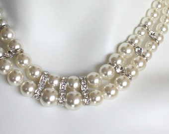 double-strand pearl necklace Bridal wedding.