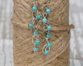 Bridesmaid Earrings: Turquoise Drop Beaded Earrings | Dangle + Drop | Something Blue Wedding Jewelry | Turquoise Jewelry | Cascading Jewelry