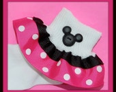 Adorable Minnie Mouse Inspired SHOCKING PINK and White Polka Dot Ribbon Double Ruffle Socks-Birthdays, Disney Vacations, Disney Marathon