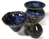 Miniature Pots for Doll Houses in Cobalt Blue