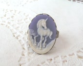 Mystical Unicorn Ring, Purple Cameo Ring, Purple Unicorn Cameo, Antique Bronze