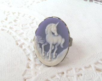 Mystical Unicorn Ring, Purple Cameo Ring, Purple Unicorn Cameo, Antique Bronze