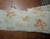 Tattered Tea Stained Fabric Ribbon Robin Egg Blue Peach Roses  Rare Retired Fabric