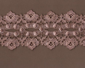 Hand Dyed Venise Lace Cabbage Roses  Antique Rose Blush