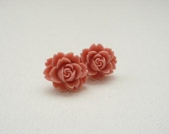 ns-Peach Ruffle Rose Resin Stud Earrings