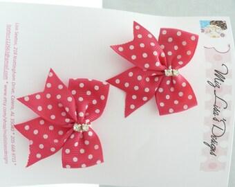 nhd-Small Hot Pink and White Polka Dot Hair Bow Set w Rhinestones