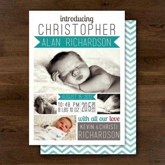 Items similar to printable baby boy birth announcement for Printable birth announcements