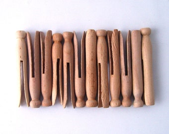 vintage wood clothespin parts lot dozen 12 push laundry room kitsch diy supplies home decor decorative retro natural raw rustic cottage chic