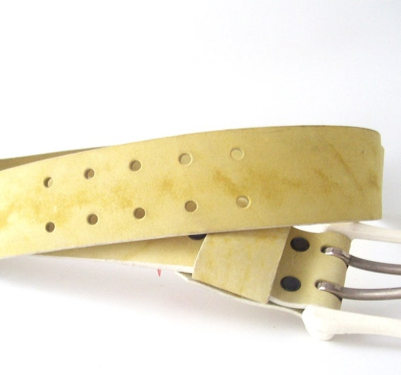 """vintage leather belt waist 34"""" butter yellow suede white enamel buckle fashion mens womens mid century modern retro accessory accessories"""
