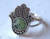 Hamsa Ring, Small Hamsa Ring, Silver Hamsa Ring, Peridot Hamsa Ring, Hand Ring, Hamsa Jewelry