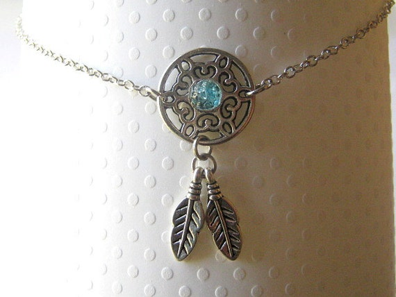 Custom Dreamcatcher Choker Delicate Chain Silver Feathers Lobster Clasp Closure Stained Glass 13 inch Sky Blue Choker Custom Colors