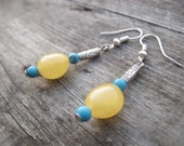 Baltic Amber Earrings Turquoise Dangle Honey Rough Stone Jewelry Raw Natural Eco Organic Sunny Zen