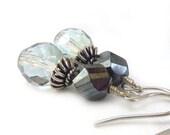 Beaded Dangle Earrings, Hematite Gray, Pale Ice Blue, Beaded Earrings, Fire Polished Glass, Sterling Bead Caps, Short Yoga Earrings