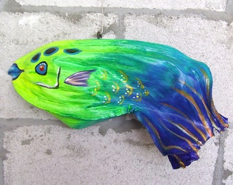 Tropical Fish on Exotic Palm Seed Pod Blue Hand Painted 16 inches long
