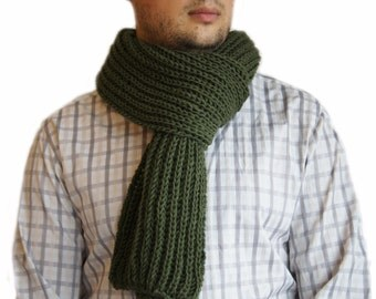 Green scarf, Mens knit scarf, Man scarf, Green knit scarf for men