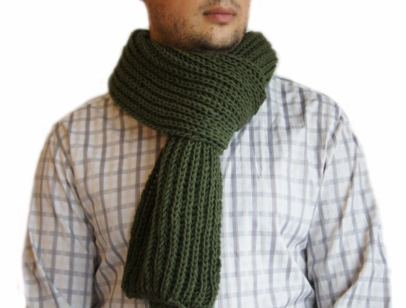 Pattern For Baby Booties Knitted : Green scarf Mens knit scarf Man scarf Green knit scarf for