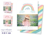 Rainbow First Birthday Invitation - First Birthday Invitations - 1st Birthday Invitation - Birthday Invitation - PSD Template
