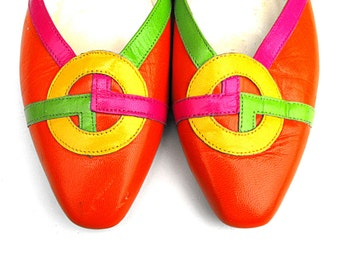 Psychedelic Geometric Flats - Mod 1960s Style Jasmin Ladies Loafers Designed in the 1980s - Colorful Neon Summer Twiggy Hippie Fashion Shoes