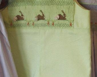 Smocked Jon Jon Romper Shortall -you PICK color and bunny pattern