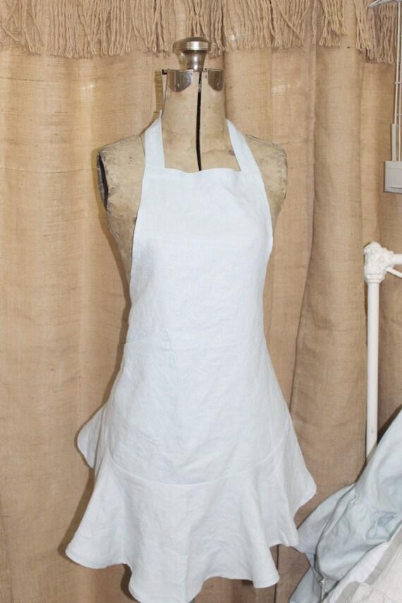 Shabby chic linen ruffled apron for Linge shabby chic