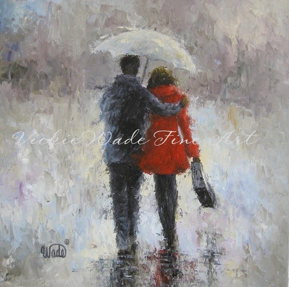 RESERVED For Rachelle Rain Romance Original Oil Painting