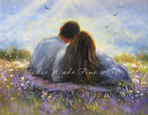 Loving couple Original Oil Painting Lovers in Spring art