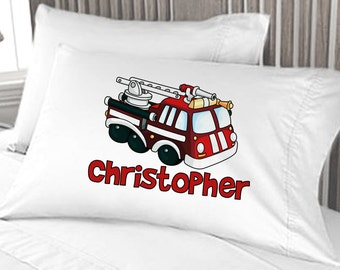 Fire Truck Fire Engine Boys Pillow Case Personalized Birthday Gift Idea