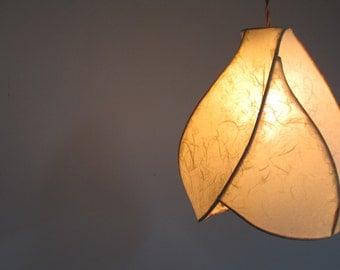 Pendant Light - Copper Sculpture and Handmade Paper Lantern - Pale Yellow - Unique Sculptural Light Fixtures