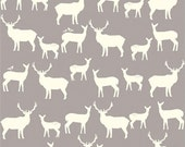 Organic Cotton Fabric- Birch Mod Basics2 - Elk Family -shroom- Great Shipping Rates
