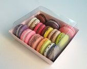 10 macaron packages in pale pink, kraft and white