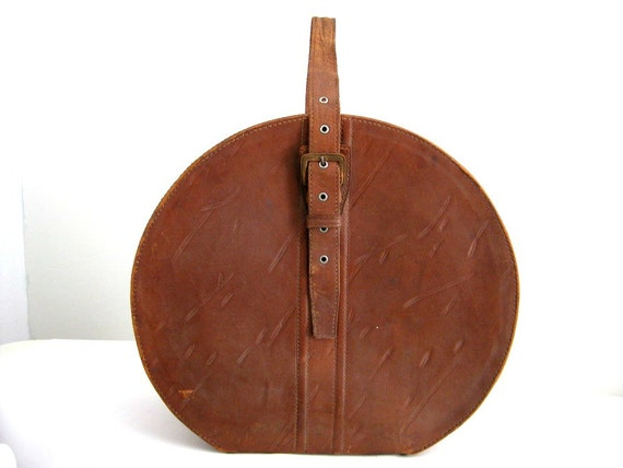 1920s All Leather Hatbox Suitcase