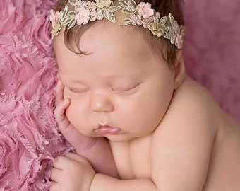 Newborn baby peach floral headband photo prop READY TO SHIP
