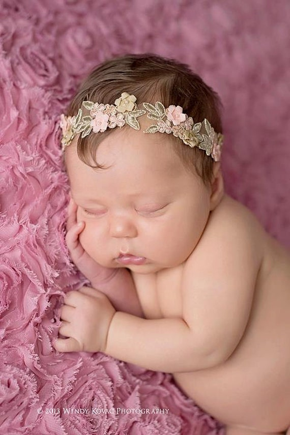 Newborn baby peach floral headband photo prop READY TO SHIP