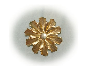Vintage Gold Tone Flower Brooch, Scalloped Trim, 1970's s