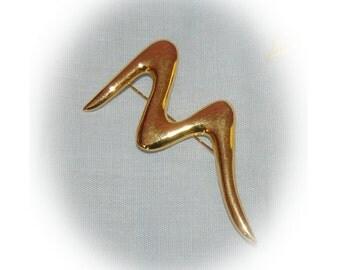 Trifari Brooch, Zig Zag, Signed, Gold Tone, Vintage 1980's